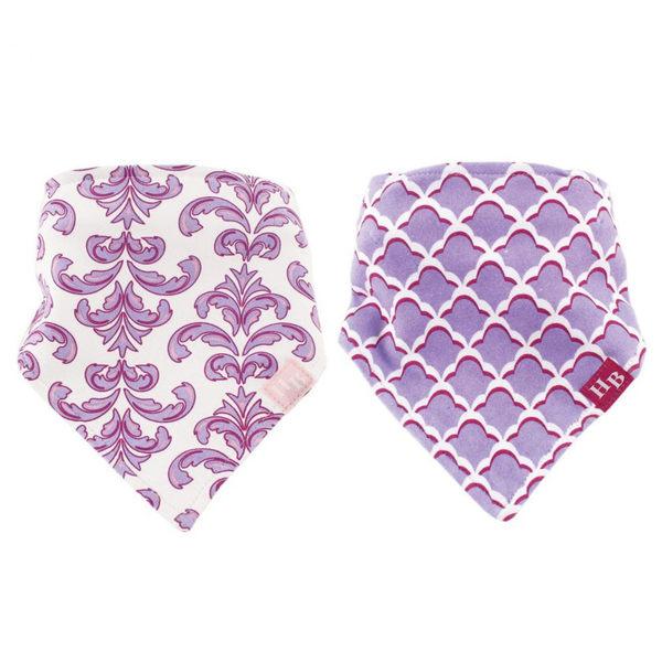 Luvable Friends 領巾造型圍兜/口水巾2件組 - 紫色鳶尾圖騰 50805