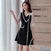 洋裝 新款韓版夏季網紗拼接v領短袖連身裙氣質赫本小黑裙顯瘦