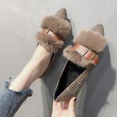豆豆鞋 加絨豆豆鞋韓版時尚百搭平底單鞋淺口尖頭秋冬格子毛毛