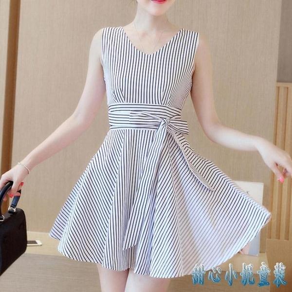 2020夏季新款大碼氣質女裝V領無袖連身裙洋裝修身顯瘦條紋短裙A字裙 OO5040【甜心小妮童裝】