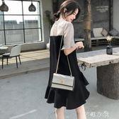 夏季新款點點雪紡拼接黑色魚尾洋裝女OL氣質顯瘦赫本小黑裙   芊惠衣屋