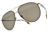 BURBERRY太陽眼鏡 B3108 12933 (黑金-灰鏡片) 飛官金屬雙槓款 # 金橘眼鏡
