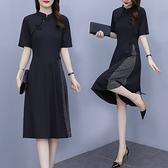 洋裝 連身裙顯瘦L-5XL大碼改良版旗袍連身裙中國風複古氣質小黑裙R031-A.6557 1號公館