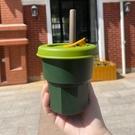 吸管杯 硅膠吸管杯少女學生高顏值隨手水杯子網紅咖啡杯防摔隨行杯隨身杯 風馳