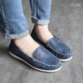 真皮休閒鞋-R&BB*MIT質感玫瑰莫卡辛特製加厚乳膠帆船平底鞋-米/藍色