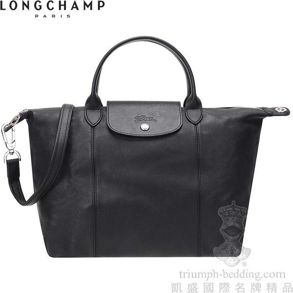 【凱盛國際名牌精品】LONGCHAMP Le Pliage Cuir 頂級小羊-黑色-中款-短手提把折疊‧手提斜側肩背水餃包