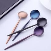 304創意不銹鋼勺子七色拉絲鍍鈦攪拌圓勺韓式咖啡勺兒童勺