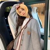 連帽外套 韓版初秋2020新款寬鬆V領慵懶風針織開衫毛衣外套女  免運快速出貨