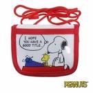 【日本進口正版】史努比 Snoopy 白色款 掛繩 小錢包 小皮夾 零錢包 PEANUTS - 293374