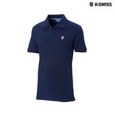 K-Swiss Cotton Solid Polo短袖Polo衫-男-藍