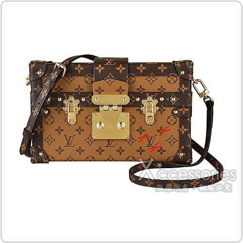 LV M44154 PETITE MALLE花紋LOGO Monogram Reverse帆布小行李箱設計扣式斜背包(棕)