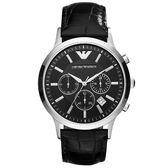 EMPORIO ARMANI 超型任務三眼計時腕錶-黑