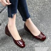 平底單鞋女淺口軟底2020年新款春季粗跟鞋百搭夏季紅色小皮鞋 中秋節全館免運