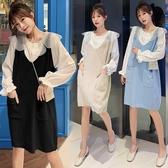 漂亮小媽咪 兩件式 洋裝【DS5615】韓系 超質感 背心裙 花瓣領 襯衫 長袖 洋裝 孕婦裝 針織裙