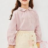 甜美翻領韓版洋氣女童襯衫兒童襯衣寶寶上衣【聚可愛】