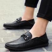 豆豆鞋 真皮套腳懶人鞋 手工縫製休閒皮鞋【非凡上品】nx2349