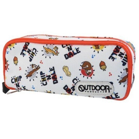 小禮堂 迪士尼 奇奇蒂蒂 尼龍雙層拉鍊筆袋 尼龍筆袋 鉛筆盒 鉛筆袋 OUTDOOR (白 滿版) 4901770-64554