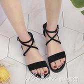 韓版學生涼鞋女夏 新款平底百搭羅馬鞋交叉綁帶黑色一字扣涼鞋  蜜拉貝爾