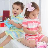 短袖連身衣 繽紛 寬條紋 休閒 爬服 男寶寶 女寶寶 哈衣 Augelute Baby 61023