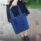 牛仔包 新款單肩手提純色時尚女包潮復古包斜挎包多口袋布包 - 古梵希