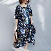碎花連身裙棉麻素雅洋裝寬大尺碼中長款