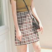 MUMU【P16025】高腰格紋包臀短裙。杏咖格/黑紅格。S-XL