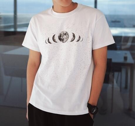 FINDSENSE MD 韓國 潮 男 時尚 宇宙星球圖案印花 短袖T恤 特色T