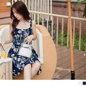 《DA5742》滿版花朵柔軟涼感交叉綁帶無袖洋裝 OrangeBear