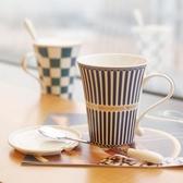 創意陶瓷杯子帶蓋勺歐式咖啡杯牛奶早餐茶杯馬克杯情侶簡約喝水杯 〖korea時尚記〗