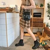圓頭日系馬丁靴女百搭短靴平底大頭鞋【創世紀生活館】