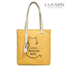 側背包 A4大容量貓咪刺繡帆布包 4色-...