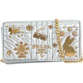 PRADA Diagramme WOC 童趣裝飾絎縫小羊皮鍊帶包(銀色) 1840575-30
