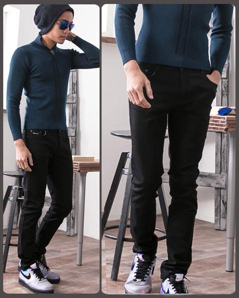韓版伸縮窄版褲‧百搭牛仔褲【天蠍】7630 - 黑色