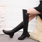 長靴女過膝粗跟瘦瘦靴秋冬新款低跟長筒靴平底顯瘦彈力女靴子 可然精品