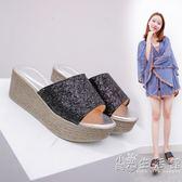 拖鞋女夏時尚外穿百搭鬆糕厚底厚底楔形涼拖鞋室外韓版一字拖新款   小時光生活館