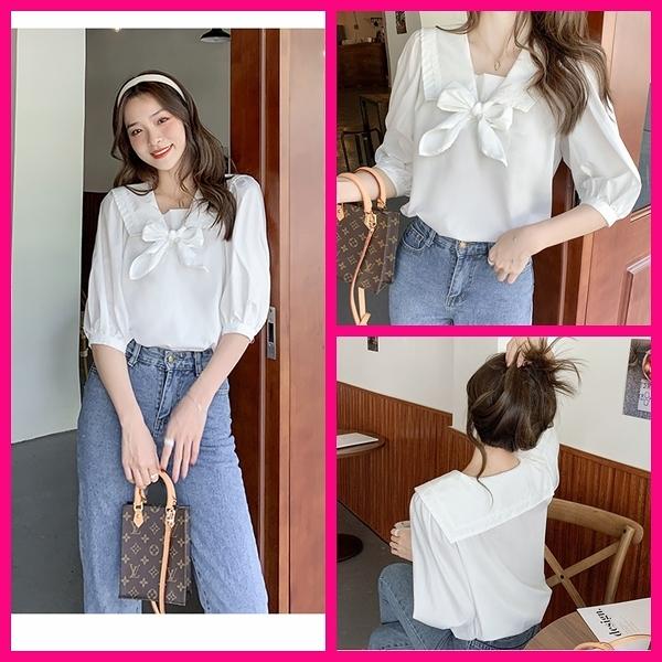 短袖上衣 韓系夏季OL上班族氣質優雅白色七分袖娃娃領蝴蝶結燈籠袖上衣 共1色 S-2XL 依二衣