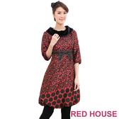 【RED HOUSE-蕾赫斯】毛領七分袖燈籠洋裝(紅色)