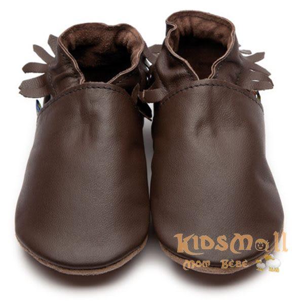 英國製Inch Blue,真皮手工學步鞋禮盒,Moccasin-Chocolate Leather