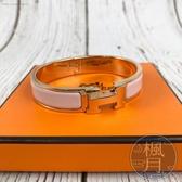 BRAND楓月 HERMES 愛馬仕 經典款 粉X玫瑰金 H琺瑯手環