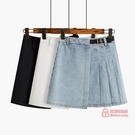 百褶裙 百褶牛仔短裙女夏2020年新款時尚A字高腰不規則裙子