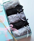 夏季淑女學生甜美可愛蕾絲蝴蝶結內褲女士三角褲黑灰色禮盒裝【販衣小築】