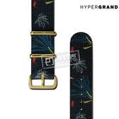 HyperGrand / NS01GRENGB / 魁北克小鎮圖騰印花金扣尼龍錶帶 黑色 20mm