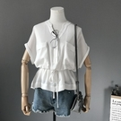短袖襯衫-V領時尚蝙蝠袖雙口袋抽繩收腰女上衣2色73rg12[巴黎精品】