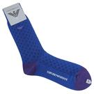 Emporio Armani 老鷹刺繡菱格休閒襪(藍/紫)980289-2