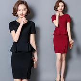 夏裝新款氣質修身假兩件職業裝洋裝女包臀大碼顯瘦美容師工作服