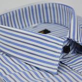 【金‧安德森】白底深淺藍條紋變化門襟窄版長袖襯衫