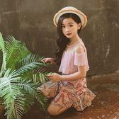 *╮S13小衣衫╭*中大童雪紡假2件印花公主裙洋裝1080306