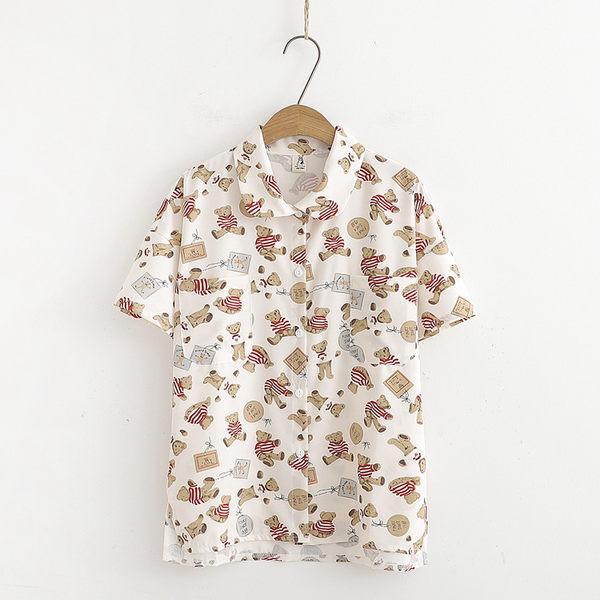 【55185212】小圓領可愛小熊短袖襯衫上衣