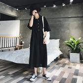 【GZ72】長洋裝 韓版寬鬆顯瘦休閒百搭T恤裙 翻領五分袖連身長裙連身裙