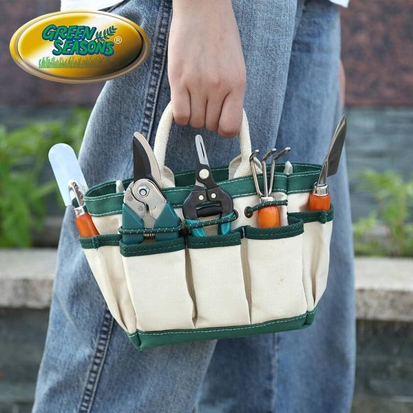 Green Seasons 小農園藝袋7件組(花剪 枝剪 大鏟 小鏟 三爪鏟 噴水壺 收納袋)